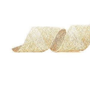 Fita Aramada Natural Fios Metálicos Bege e Ouro 6,3cm x 9,14m - 01 unidade - Cromus Natal - Rizzo