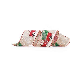 Fita Aramada Natural com Carro Natalino Vermelho 6,3cm x 9,14m - 01 unidade - Cromus Natal - Rizzo