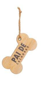 Enfeite para Pendurar Osso de Madeira - Pai de Cachorro - 01 un - Cromus Natal - Rizzo Embalagens