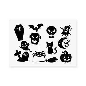 Cartela Transfer Adesivo Halloween - Sortido - 01 unidade - Rizzo Embalagens