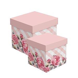 Caixa Cubo para Presentes Scarlett - 01 unidade - Cromus - Rizzo Embalagens