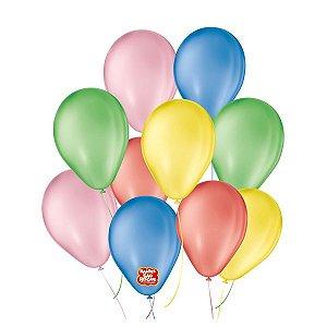 """Balão de Festa 6,5"""" Basic - Sortido - 50 Unidades - Balões São Roque - Rizzo"""