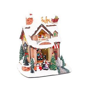 Cenário Natalino - Casa Papai Noel mod.2 - Som, Luz e Movimento - 01 unidade - Cromus Natal - Rizzo Embalagens