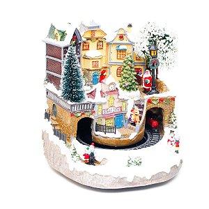 Cenário Natalino Mod 2- Vila com Trem Som, Luz e Movimento - Bivolt - 01 unidade - Cromus Natal - Rizzo Embalagens