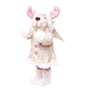 Rena em Pé Decorativa com Vestido Branco e Rosa - 01 unidade - Cromus Natal - Rizzo