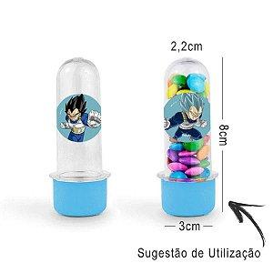 Mini Tubete Lembrancinha Festa Dragon Ball Super 8cm 20 unidades - Azul Claro - Rizzo Embalgens