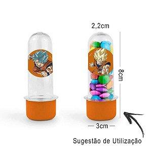 Mini Tubete Lembrancinha Festa Dragon Ball Super 8cm 20 unidades - Laranja - Rizzo Embalagens