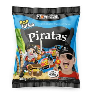 Pirulito Pop Tattoo Pirata - 01 Unidade - Florestal - Rizzo Embalagens