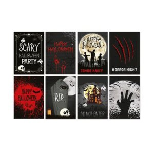 Cartaz Decorativo Noite do Terror Halloween 25x35cm 8 Unidades - Cromus - Rizzo Embalagens