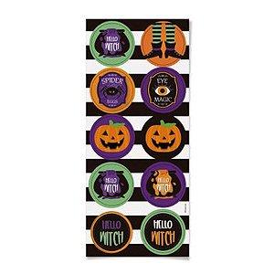 Adesivo Redondo Happy Halloween 30 Unidades - Cromus - Rizzo Embalagens