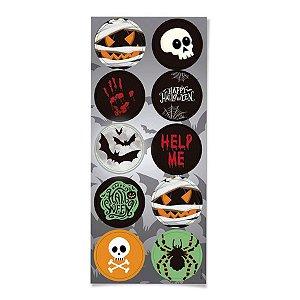 Adesivo Redondo Noite do Terror Halloween 30 Unidades - Cromus - Rizzo Embalagens