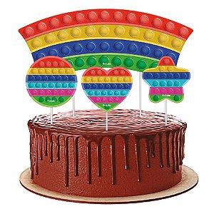 Topper para Bolo Festa Pop It - 4 Unidades - Festcolor - Rizzo