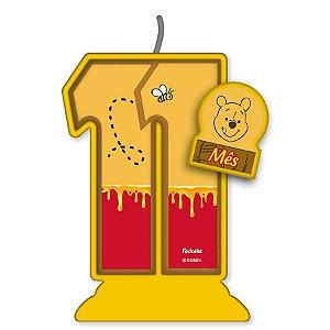 Vela Mesversário Festa Pooh e sua Turma - 11 mês - 01 Unidade - Festcolor - Rizzo Embalagens