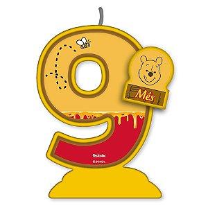 Vela Mesversário Festa Pooh e sua Turma - 9 mês - 01 Unidade - Festcolor - Rizzo Embalagens