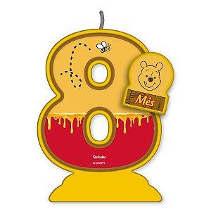 Vela Mesversário Festa Pooh e sua Turma - 8 mês - 01 Unidade - Festcolor - Rizzo Embalagens