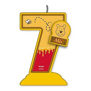 Vela Mesversário Festa Pooh e sua Turma - 7 mês - 01 Unidade - Festcolor - Rizzo Embalagens