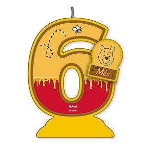 Vela Mesversário Festa Pooh e sua Turma - 6 mês - 01 Unidade - Festcolor - Rizzo Embalagens
