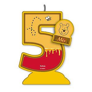 Vela Mesversário Festa Pooh e sua Turma - 5 mês - 01 Unidade - Festcolor - Rizzo Embalagens
