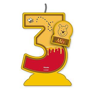 Vela Mesversário Festa Pooh e sua Turma - 3 mês - 01 Unidade - Festcolor - Rizzo Embalagens