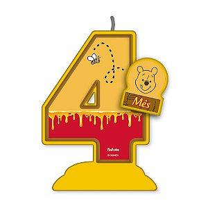Vela Mesversário Festa Pooh e sua Turma - 4 mês - 01 Unidade - Festcolor - Rizzo Embalagens