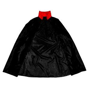 Capa de Vampiro - Halloween - Preto c/ gola Vermelha - Infantil - 01 unidade - Rizzo