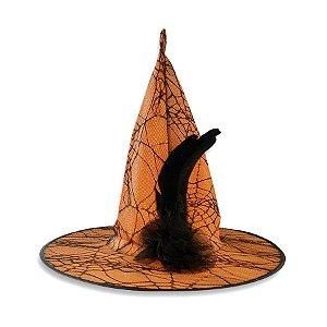 Chapéu de Bruxa Luxo - Halloween - Laranja com aplique em renda preto - 01 unidade - Rizzo