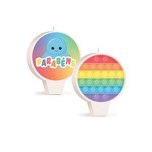 Vela Redonda Dupla Face Festa Fidget Toys - 1 Unidade - Cromus - Rizzo Embalagens