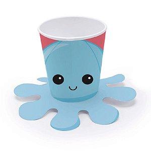 Copo Papel Festa Fidget Toys Polvo Azul 240ml - 8 Unidades - Cromus - Rizzo Embalagens