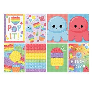 Cartaz Decorativo Festa Fidget Toys 25x35cm 8 Unidades - Cromus - Rizzo Embalagens