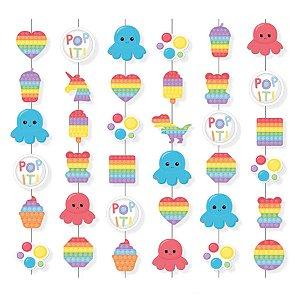 Cortina Decorativa Festa Fidget Toys - 6 unidades - Cromus - Rizzo Embalagens