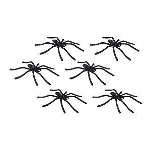 Enfeite Decorativo Aranhas de plástico - Preto - 07 unidades - Rizzo