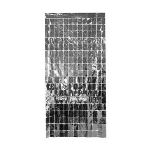 Cortina Decorativa Painel Mágico 1x2m - Retângulos - Prata - Art Lille - Rizzo Embalagens