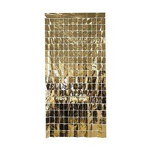 Cortina Decorativa Painel Mágico 1x2m - Retângulos - Ouro - Art Lille - Rizzo Embalagens