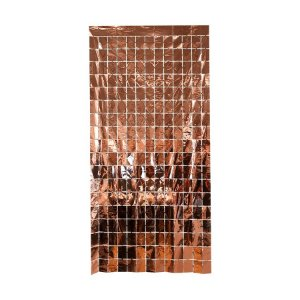 Cortina Decorativa Painel Mágico 1x2m - Retângulos - Rose Gold - Art Lille - Rizzo Embalagens