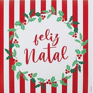Guardanapo de Papel Feliz Natal Listrado 32,5cm - 20 folhas - Cromus Natal - Rizzo