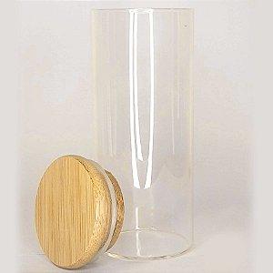 Pote de Vidro Hermético com Tampa de Bambu 12x5cm - Yoss - Rizzo