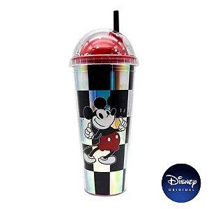 Copo Xadrez C/ Canudo Mickey Mouse - 750ml - Disney Original - 01 Un - Rizzo