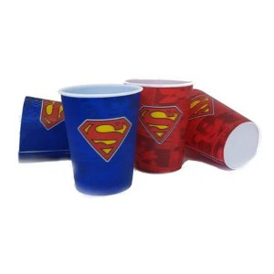 Kit 4 Copos 3D Superman Liga da Justiça - 400ml - DC Original - 01 Un - Rizzo