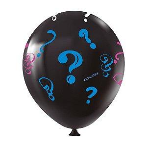 """Balão de Festa Redondo Profissional Látex Decorado 11"""" 28cm - Chá Revelação Preto - 25 Unidades - Art-Latex - Rizzo"""