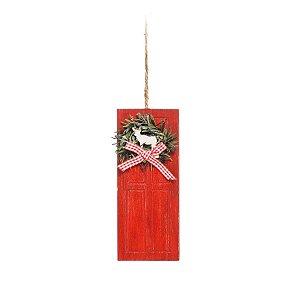 Enfeite para Pendurar Porta Vermelha com Guirlanda - 1 unidade - Cromus Natal - Rizzo