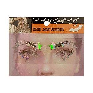 Adesivo Facial Halloween - Face Art Decor - Estrelas - Prata - 01 unidade - Rizzo Embalagens