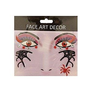 Adesivo Facial Halloween - Face Art Decor - Strass e Teias - Preto/Vermelho - 01 unidade - Rizzo Embalagens