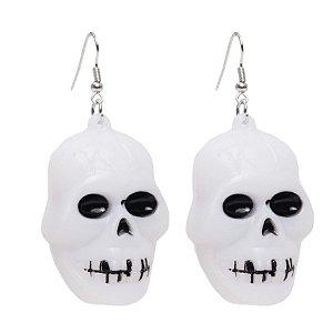 Brincos de Esqueleto com LED Halloween - 01 Unidade - Cromus - Rizzo Embalagens
