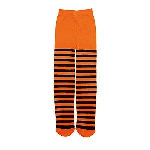 Meia Calça Listrada Laranja e Preto Halloween - 01 Unidade - Cromus - Rizzo Embalagens