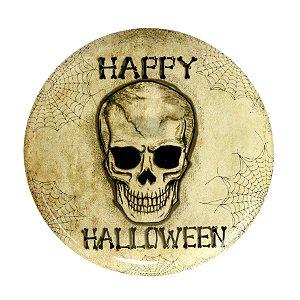 Bandeja Redonda Happy Halloween Caveira 34,5cm - 01 unidade - Cromus - Rizzo Embalagens
