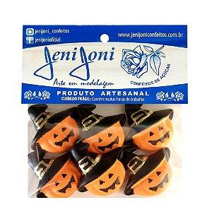 """Confeitos Comestíveis """"Abobora com Chapéu Halloween"""" - 06 Unidade - Rizzo"""