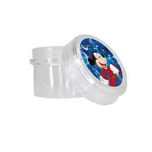 Potinho Acrílico Redondo Tampa Rosqueável Festa Mickey Fantasia - 80ml - 4,8cm x 5cm - 20 unidades - Rizzo Embalagens