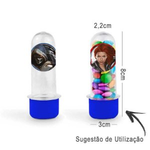 Mini Tubete Lembrancinha Festa Viúva Negra 8cm 20 Unidades - Azul - Rizzo Embalagens