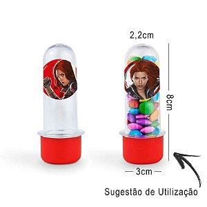 Mini Tubete Lembrancinha Festa Viúva Negra 8cm 20 Unidades - Vermelho - Rizzo Embalagens