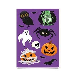 Cartela Adesiva Noite do Terror Halloween - 22pçs - 1 Unidades - Cromus - Rizzo Embalagens